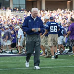 (Photo by Rodney Dimick | Collegian) Bill Snyder gets ready for the game mentally while walking onto the field on August 30, 2014 at Bill Snyder Family Stadium.