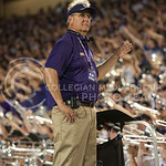 (Photo by Rodney Dimick | Collegian) Director of Bands Frank Tracz keeps the timing on August 30, 2014 at Bill Snyder Family Stadium.