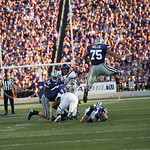 Photo by Rodney Dimick | The Collegian Sophomore defensive end Jordan Willis jumps while his teammates go for the ball on August 30, 2014 at Bill Snyder Family Stadium.
