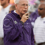 (Photo by Emily DeShazer | The Collegian)  Bill Snyder records a thought on August 30, 2014 at Bill Snyder Family Stadium.
