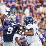 (Photo by Emily DeShazer | The Collegian)  Freshman Elijah Lee tries to block a pass as Stephen F. Austin's Travis Wiggins on August 30, 2014 at Bill Snyder Family Stadium.
