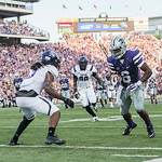 (Photo by Rodney Dimick | Collegian) Sophomore wide receiver Deante Burton puts consideration in every step on August 30, 2014 at Bill Snyder Family Stadium.