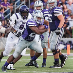 (Photo by Emily DeShazer | The Collegian)  Senior running back DeMarcus Robinson rushes down field on August 30, 2014 at Bill Snyder Family Stadium.