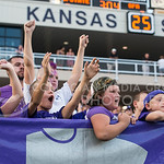 (Photo by Rodney Dimick | Collegian) Young fans celebrate after a touchdown on August 30, 2014 at Bill Snyder Family Stadium.