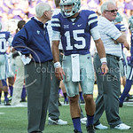 (Photo by Rodney Dimick | The Collegian) Senior quarterback Jake Waters talks with Bill Snyder before the game on August 30, 2014 at Bill Snyder Family Stadium.