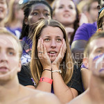 Fans in the student section react to early mistakes in the football game against Aurburn in Bill Snyder Family Stadium on Sept. 18, 2014. (Hannah Hunsinger | The Collegian)