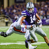 Parker Robb | The Collegian<br /> <br /> Senior wide receiver Curry Sexton tries to gain yardage after a catch during the third quarter of the Wildcats' 20-14 loss to Auburn Thursday evening in Bill Snyder Family Stadium.