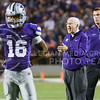 Parker Robb | The Collegian<br /> <br /> Head coach Bill Snyder yells at his players as senior wide receiver Tyler Lockett stands disappointed during the Wildcats' 20-14 loss to Auburn Thursday evening in Bill Snyder Family Stadium.