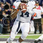 Auburn quarterback Nick Marshall looks for wide receivers open down field at Bill Snyder Family Stadium on Thursday, September 19, 2014.