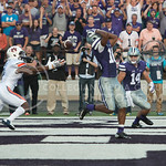 Senior wider receiver Tyler Lockett has remorse after he misses the ball at end zone on Sept. 18, 2014 at Bill Snyder Family Stadium.  (Rodney Dimick | The Collegian)