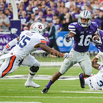 Parker Robb | The Collegian  Senior wide receiver Tyler Lockett evades Auburn defender Joshua Holsey after making a catch during the first quarter of the Wildcats' 20-14 loss to Auburn Thursday evening in Bill Snyder Family Stadium.