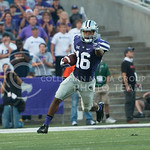 Senior wider receiver Tyler Lockett points down the field as he runs with the ball on Sept. 18, 2014 at Bill Snyder Family Stadium.  (Rodney Dimick | The Collegian)