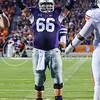 Parker Robb | The Collegian<br /> <br /> Senior center B.J. Finney gets the crowd pumped up during the second quarter of the Wildcats' 20-14 loss to Auburn Thursday evening in Bill Snyder Family Stadium.