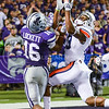 Parker Robb | The Collegian<br /> <br /> Senior wide receiver Tyler Lockett tries to haul in a touchdown catch to tie the game at 20 apiece during the fourth quarter of the Wildcats' 20-14 loss to Auburn Thursday evening in Bill Snyder Family Stadium.