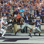 Senior wider receiver Tyler Lockett attempts to catch the ball at the end zone on Sept. 18, 2014 at Bill Snyder Family Stadium.  (Rodney Dimick | The Collegian)