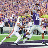 Parker Robb | The Collegian<br /> <br /> Senior wide receiver Tyler Lockett attempts a touchdown catch despite Auburn defender Jonathan Jones' preceding pass interference during the first quarter of the Wildcats' 20-14 loss to Auburn Thursday evening in Bill Snyder Family Stadium.