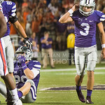 K-State kicker Jack Cantele unstraps his helmet after missing a field goal at Bill Snyder Family Stadium on Thursday, September 19, 2014.