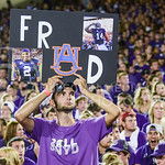 Parker Robb | The Collegian  A K-State student holds a sign during the Wildcats' 20-14 loss to Auburn Thursday evening in Bill Snyder Family Stadium.