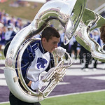 A K-State Marching Band member plays a tuba during the pre-game show at Bill Snyder Family Stadium on Sept. 27, 2014. (George Walker | The Collegian)