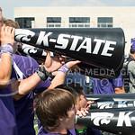 KSU Yelleaders cheer on the football team at the KSU vs. UTEP football game at Bill Synder Family Statium on September 27, 2014. (Cassandra Nguyen | The Collegian)
