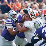 K-State defensive lineman Terrell Clinkscales shoves the helmet off a UTEP offensive lineman's head on Saturday, September 27, 2014 at Bill Snyder Family Stadium.
