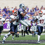 K-State wide receiver Tyler Lockett catches a pass from quarterback Jake Waters as he's tackled by UTEP defensive back Damian Payne on Saturday, September 27, 2014 at Bill Snyder Family Stadium.