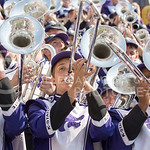 Band members play the trombone during the game vs. UTEP on Sept. 27, 2014 in Bill Snyder Family Stadium. (George Walker | The Collegian)