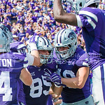 Tight end Zach Trujillo celebrates a touchdown with his teammates on Saturday, September 27, 2014 at Bill Snyder Family Stadium.