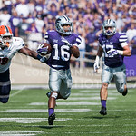 K-State returnman Tyler Lockett returns a kick for a touchdown before it's called back for a penalty on Saturday, September 27, 2014 at Bill Snyder Family Stadium.