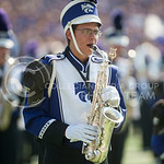A K-State Marching Band member plays a saxophone during the pre-game show at Bill Snyder Family Stadium on Sept. 27, 2014. (George Walker | The Collegian)