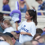A fan cheers on the Wildcats during the game vs. UTEP on Sept. 27, 2014 in Bill Snyder Family Stadium. (George Walker | The Collegian)