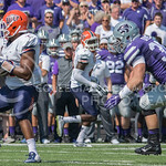 Sophomore linebacker Will Davis Prepares to tackle a UTEP player during the game vs. UTEP on Sept. 27, 2014 in Bill Snyder Family Stadium.  (George Walker | The Collegian)