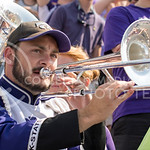 A K-State Marching Band member plays a trombone during the game at Bill Snyder Family Stadium on Sept. 27, 2014. (George Walker | The Collegian)