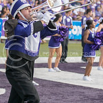 A K-State Marching Band member plays a trombone during the pre-game show at Bill Snyder Family Stadium on Sept. 27, 2014. (George Walker | The Collegian)