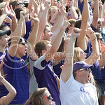 Kansas State University students cheering on the student section at the KSU vs. UTEP Football game at Bill Synder Family Statium on September 27, 2014. (Cassandra Nguyen | The Collegian)