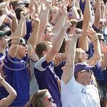 Kansas State University students cheering on the student section at the KSU vs. UTEP Football game at Bill Synder Family Statium on September 27, 2014. (Cassandra Nguyen | The Collegian)