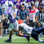 K-State wide receiver Tyler Lockett looks down field as he's tackeled by UTEP defensive back Adrian James on Saturday, September 27, 2014 at Bill Snyder Family Stadium.