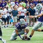 Matthew McCrane kicks a field goal on Saturday, September 27, 2014 at Bill Snyder Family Stadium.