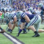 KSU Football Defense line prepares for another play at the KSU vs. UTEP football game at Bill Synder Family Statium on September 27, 2014. (Cassandra Nguyen | The Collegian)