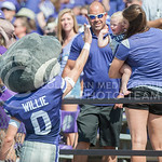 Willie gives a fan a high-five during the game vs. UTEP on Sept. 27, 2014 in Bill Snyder Family Stadium. (George Walker | The Collegian)