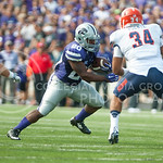Senior running back DeMarcus Robinson prepares to go around UTEP linebacker Anthony Puente at the game vs. UTEP on Sept. 27, 2014 in Bill Snyder Family Stadium. (George Walker | The Collegian)