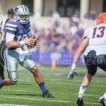 Senior quarterback Jake Waters takes the ball downfield during the game vs. UTEP on Sept. 27, 2014 in Bill Snyder Family Stadium. (George Walker | The Collegian)
