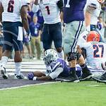 A KSU football player sticks his landing for another Wildcat Touchdown at the KSU vs. UTEP football game at Bill Synder Family Statium on September 27, 2014. (Cassandra Nguyen | The Collegian)
