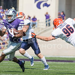 Senior wide receiver Tyler Lockett avoids a tackle made by UTEP kicker/punter Mike Ruggles during the game vs. UTEP on Sept. 27, 2014 in Bill Snyder Family Stadium.   (George Walker | The Collegian)