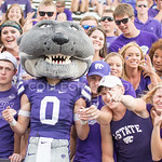 Fans cheer with Willie during the game vs. UTEP on Sept. 27, 2014 in Bill Snyder Family Stadium. (George Walker | The Collegian)