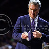 Head coach Bruce Weber looks at his makeshift playbook in the first half of the Wildcats' 70-63 victory over the #8-ranked Jayhawks in the 281st Sunflower Showdown February 23, 2015, in Bramlage Coliseum. (Parker Robb | The Collegian)