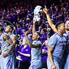 The K-State bench goes wild after a foul on Kansas guard Wayne Selden, Jr. with seven seconds remaining in the second half of the Wildcats' 70-63 victory over the #8-ranked Jayhawks in the 281st Sunflower Showdown February 23, 2015, in Bramlage Coliseum. (Parker Robb | The Collegian)