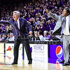 Head coach Bruce Weber (left) and associate head coach Chris Lowery (right) instruct the Wildcats as they hold a 68-63 lead in the final seconds of the second half of the Wildcats' 70-63 victory over the #8-ranked Jayhawks in the 281st Sunflower Showdown February 23, 2015, in Bramlage Coliseum. (Parker Robb | The Collegian)