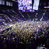 K-State students flood the court following the Wildcats' second victory in as many years over #8-ranked archrival Kansas in Bramlage Coliseum February 23, 2015. (Parker Robb | The Collegian)