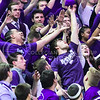 K-State students battle for possession of a free T-shirt tossed into the crowd by Willie in the first half of the Wildcats' 70-63 victory over the #8-ranked Jayhawks in the 281st Sunflower Showdown February 23, 2015, in Bramlage Coliseum. (Parker Robb | The Collegian)